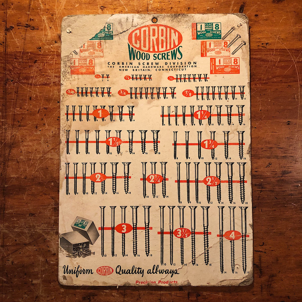 Corbin Hardware Lithograph - Double sided - Wood Screws Stove Bolts - Antique Reference Poster - Vintage Industrial Wall Decor - 1950s?