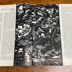 WPA Skeleton from WPA Era School Magazine with Wood Linocut Photos - The World Minnesota 1938 - Rare 1930s WPA Literary Club Periodical - Linoleum Cuts