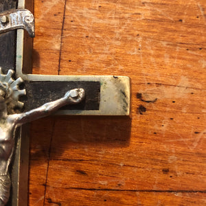 Antique Nickel Crucifix with Skull and Crossbones