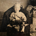 Antique Tintype of Child Holding a Violin - Early 1900s - Whimsical Scene - Unusual Photography - Rare Musical Photo
