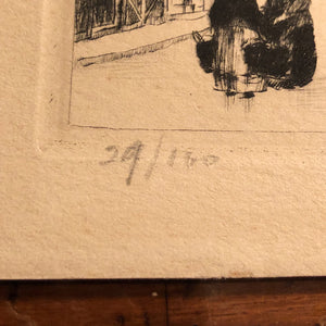 European Etching of Street Scene - Pencil Signed  Limited Run - 29 of 100