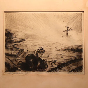Nils P. Larsen Drypoint Etching of War Scene - What Price Fuhrer? - Pencil Signed - Hawaiian Artist - Listed - Intense Military Art