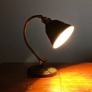 Vintage Articulating Desk Lamp with Unusual Shade |  1920s