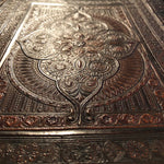 Vintage Leather Portfolio Cover with Tooled Ornate Design - Continental School Manuscript Cover - 1800s - Arts and Crafts - 19th Century