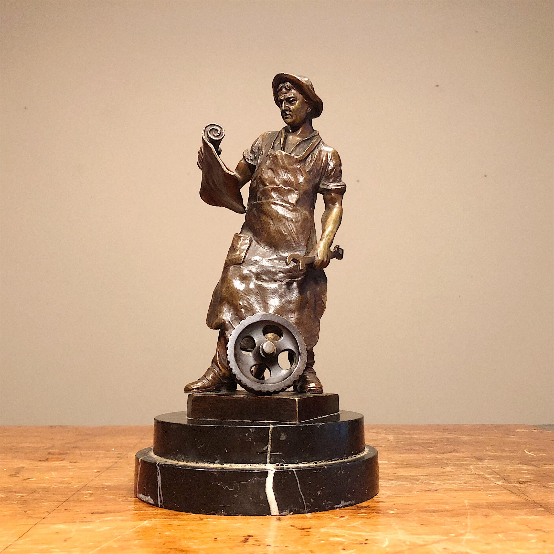 Julius Schmidt-Feller Bronze Sculpture of Blacksmith from early 1900s