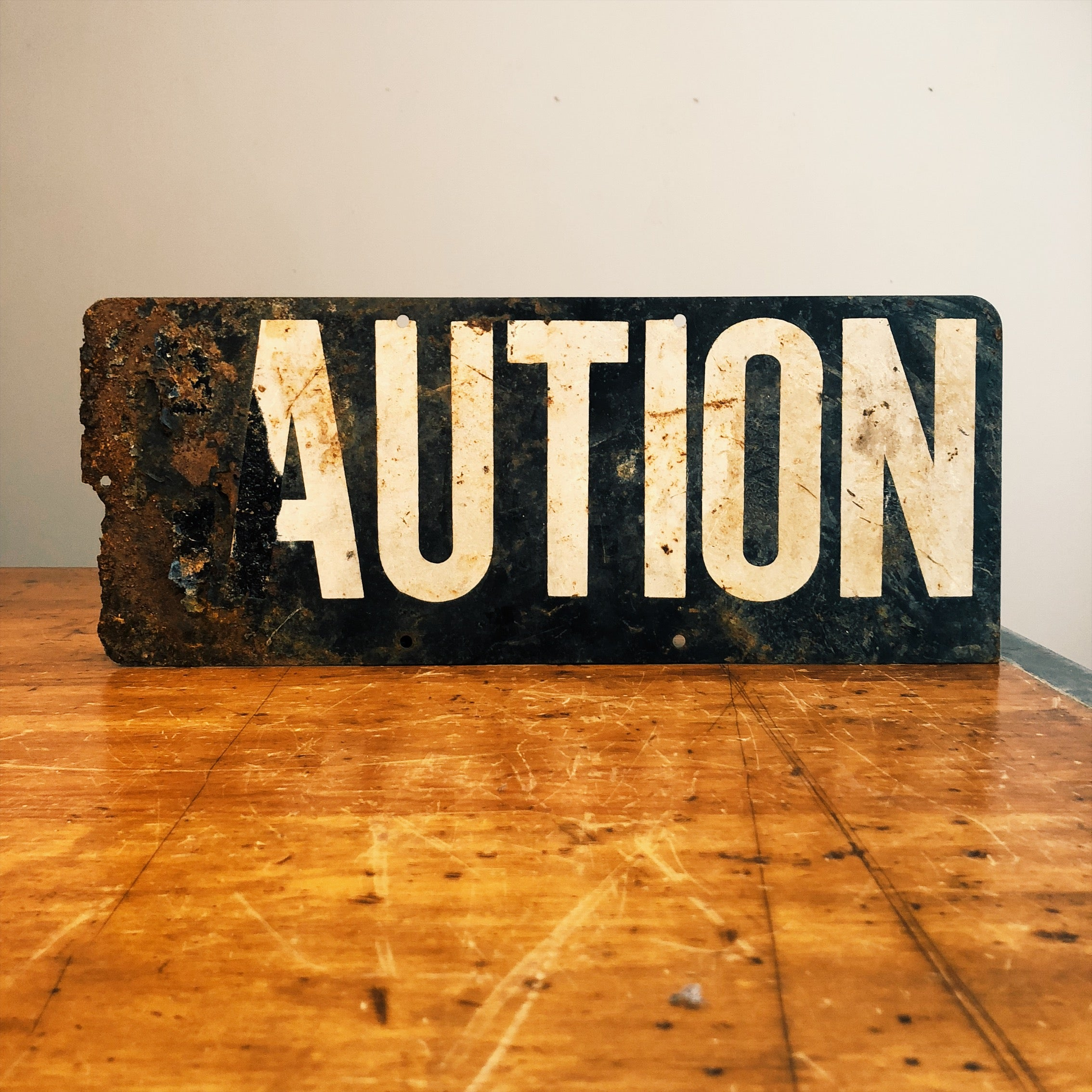 Front view of Vintage Caution Railroad Sign