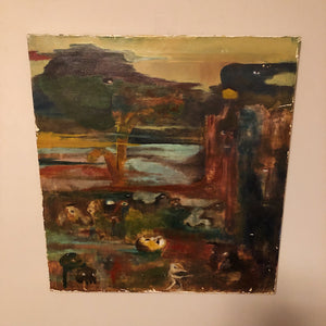 Vintage Surreal Painting from 1960s - Outsider Art - Christopher Charles - Surrealist Landscape Scene - Unusual Artwork
