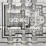 Rare Plan of the Temple Jerusalem Architectural on Cloth -  E.D. Fisher - 1902 - Court of the Gentiles - Antique Print