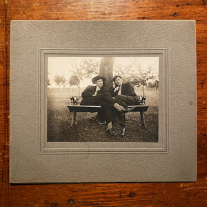 Antique Photograph of 2 Gents Lounging on a Bench - Early 1900s - Rare Unusual Scene - Oscar Wilde - Silver Gelatin Print  with Backing