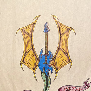 Vintage Tattoo Flash Art of Guitar Dragon - 1992 - Signed Mystery Artist - Original Heavy Metal Artwork