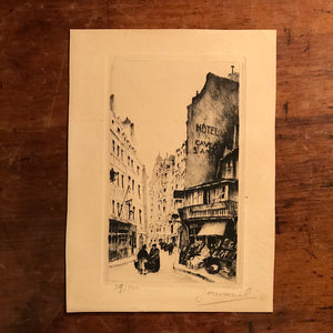 European Etching of Street Scene - Pencil Signed - Mystery Artist - Limited Run - 29 of 100 - Lana Watermark