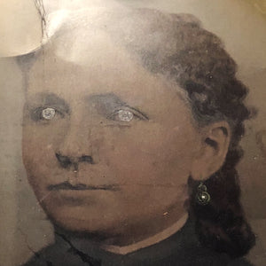 "Antique Tintype of Woman with Creepy Hand Painted Accents - Rare Large Size - 10"" x 8"" - 1800s  - 19th Century Photography"