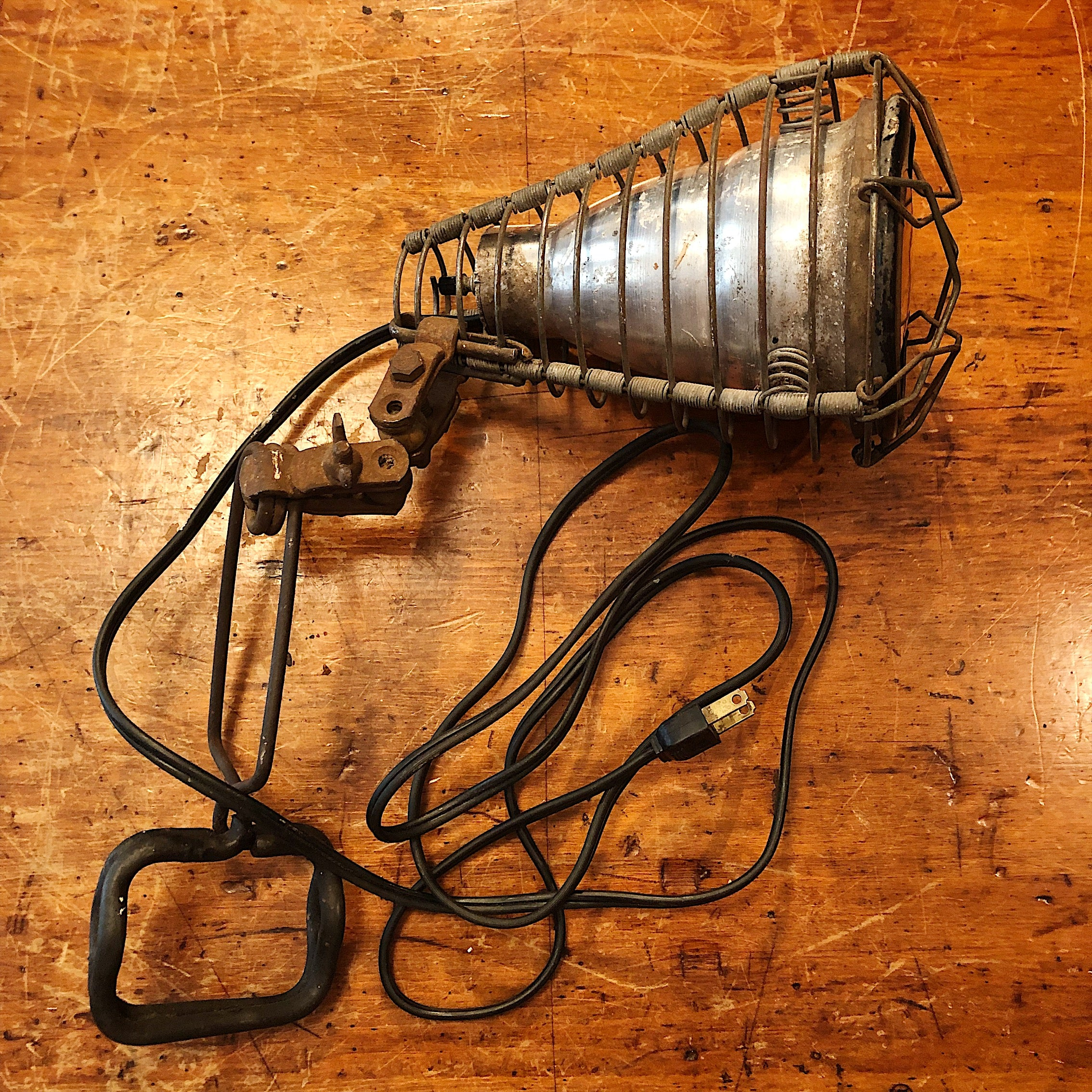 Vintage Shop Clamp Light from Old Phillips 66 Station - 1940s - Unusual Trouble Light Cage - Rare Industrial Decor -  Adjuster