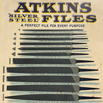 Antique Atkins Files Tin Sign - Early 1900s - Rare Industrial Tool Advertising - K.C. Atkins & Company - Silver Steel Files