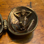 Antique Erotic Bronze Clam Shell  - Early 1900s Underground Erotica - Hidden Male Aroused and Female  Risque Nude Scene - Hinged Trinket - Rare