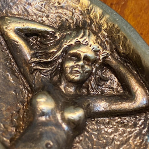 Woman from Antique Erotic Bronze Clam Shell  - Early 1900s Underground Erotica - Hidden Male and Female  Risque Nude Scene - Hinged Trinket - Rare