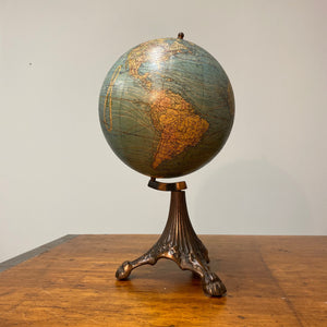 "Antique Johnston Desk Globe on Ornate Cast Iron Base - 8"" International Spherical - Claw Feet - W. & A.K.- Victorian Decor"