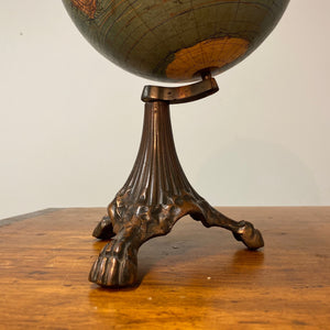 "Base of Antique Johnston Desk Globe on Ornate Cast Iron Base - 8"" International Spherical - Claw Feet - W. & A.K.- Victorian Decor"