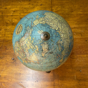 "Antique Johnston Desk Globe on Ornate Cast Iron Base |  8"" AS IS"