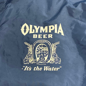 Vintage Olympia Beer Jacket - XL - 1970s -  Navy Blue - Windbreaker Delivery Snap Coat - Jo-Lock Tag - Hipster Brewerianna