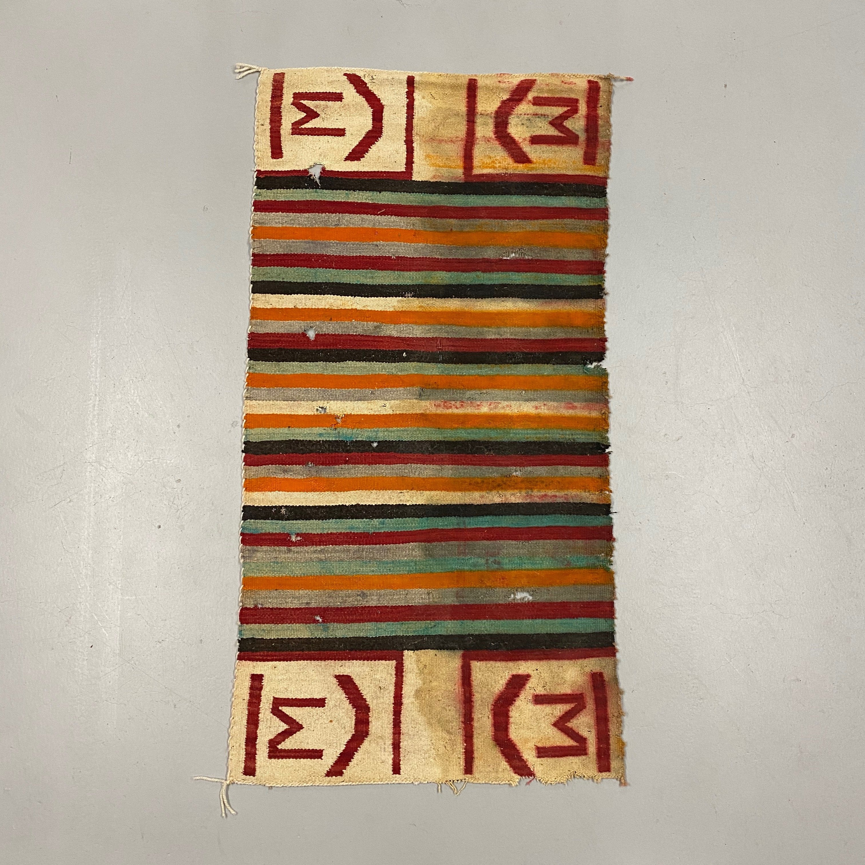 "1920s Navajo Rug with Ranch Marking - Antique Southwest Saddle Blanket - AS IS - Wall Hanging - 59"" x 30"" - Horizontal Color Designs"