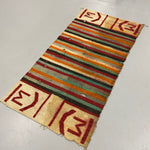 "1920s Navajo Rug with Ranch Marking - Antique Southwest Saddle Blanket - AS IS - Wall Hanger - 59"" x 30"" - Horizontal Color Designs"