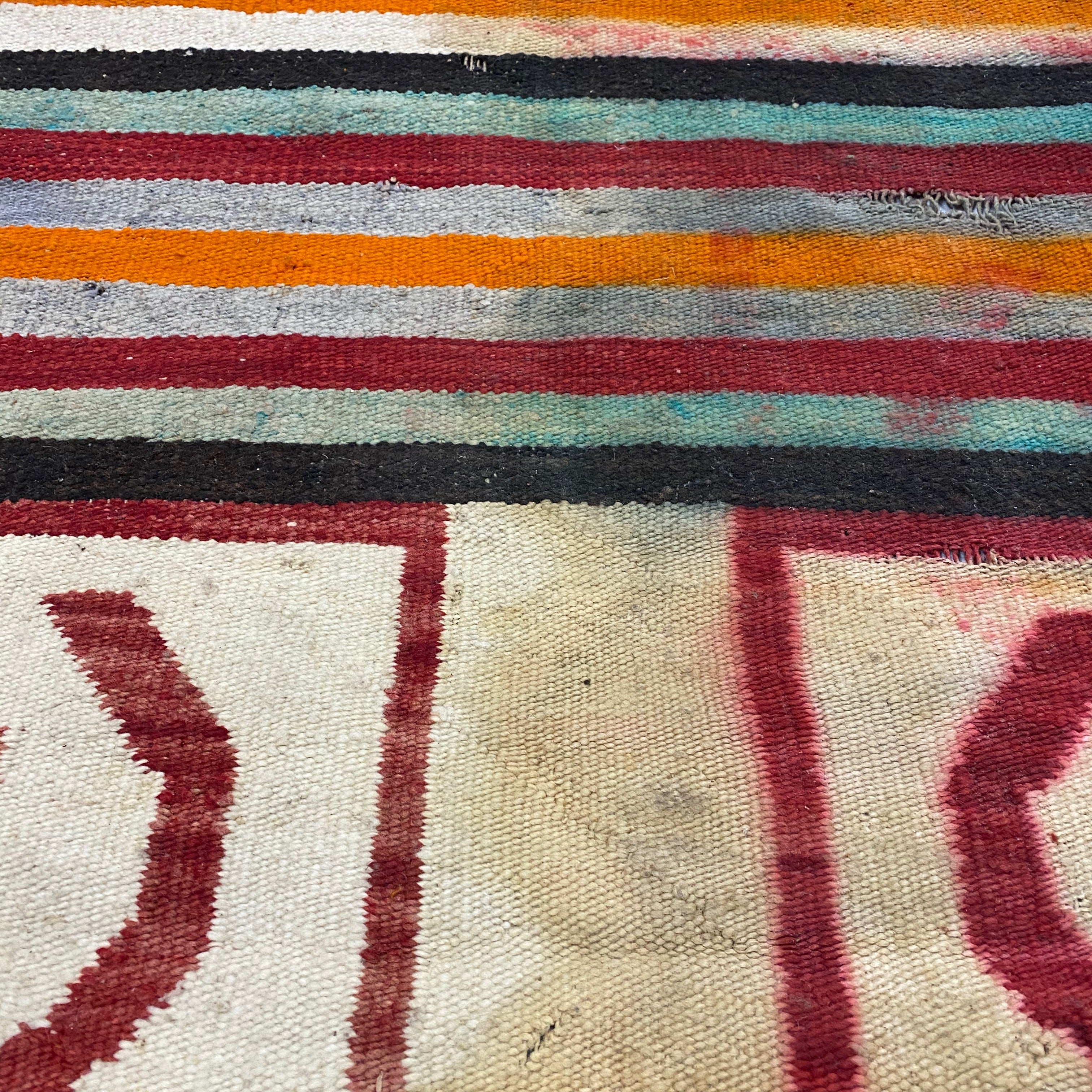 1920s Navajo Rug with Ranch Markings | AS IS
