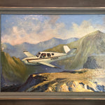 "DB Cooper Painting by Earl Gross - Oil on Board - 1970s Signed by Listed Artist - ""Wheels Up"" - Notorious Unusual Art - Infamous"