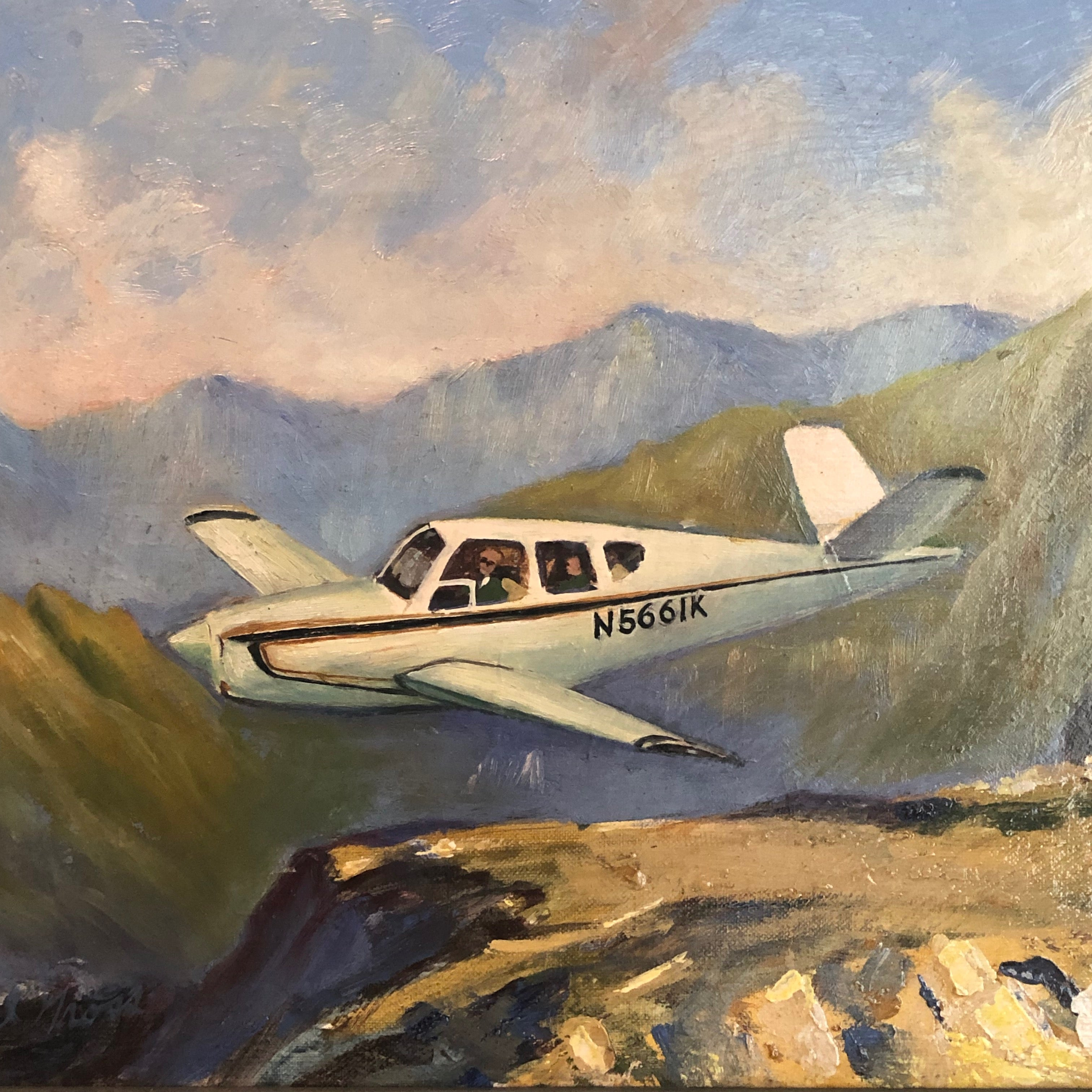 "DB Cooper Artwork for Sale Painting by Earl Gross - Oil on Board - 1970s Signed by Listed Artist - ""Wheels Up"" - Notorious Unusual Art - Infamous Mystery"