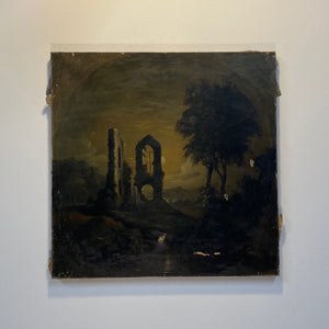Gothic Oil Painting of Haunting Ruins | 19th Century Regionalist Art