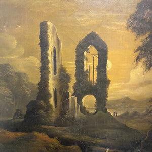 Gothic Oil Painting of Haunting Ruins | 19th Century Regionalist Art - M.E. Farr