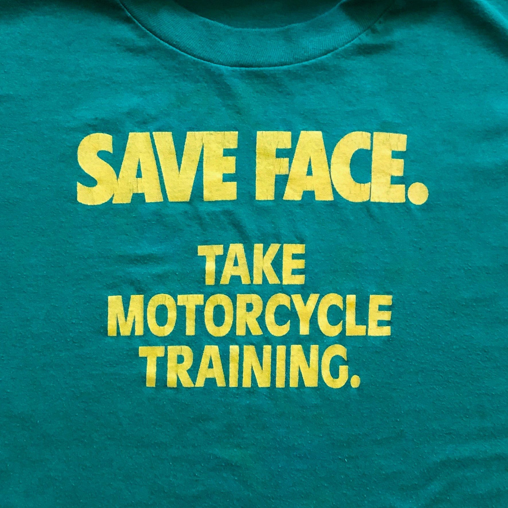 Vintage Motorcycle Safety Training T Shirt from 1980s - XL - Save Face - John Deere Colors - Green Yellow - Jerzees Tag