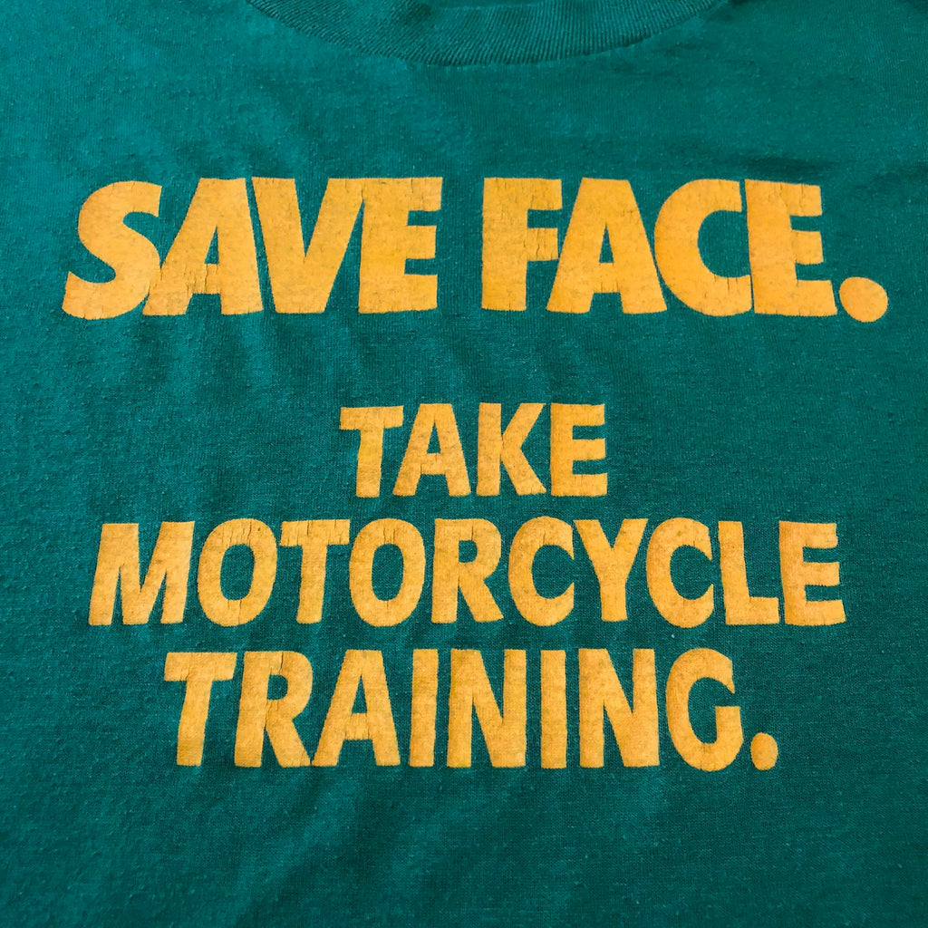 Vintage Motorcycle Safety Training T Shirt from 1980s - XL - Save Face - John Deere Colors - Green Yellow - Jerzees Tag - Polyester Cotton