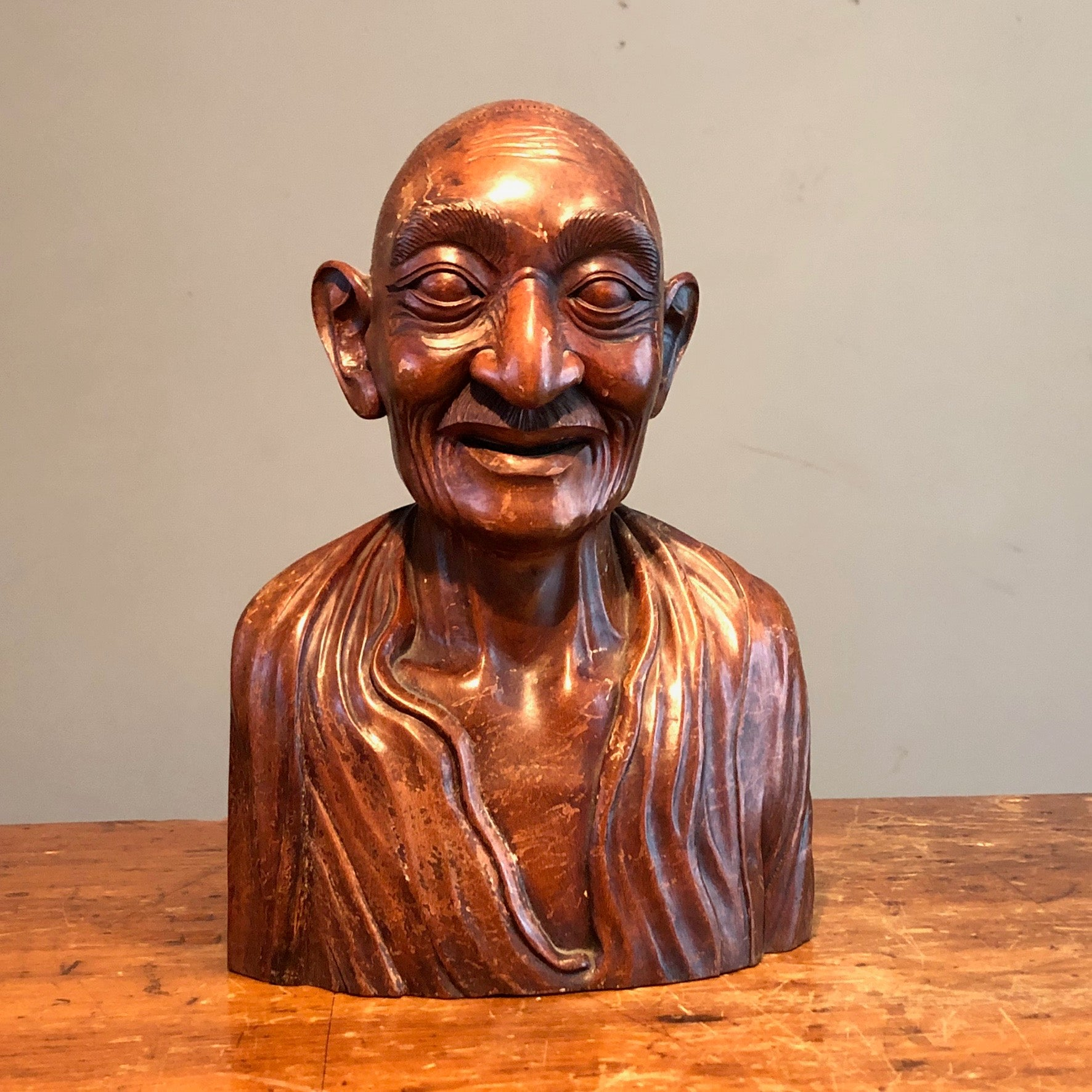 Chinese Wood Bust of Old Man - Turn of the Century - Antique Ornate Sculpture - Rare Asian Carving - Mystery Artist