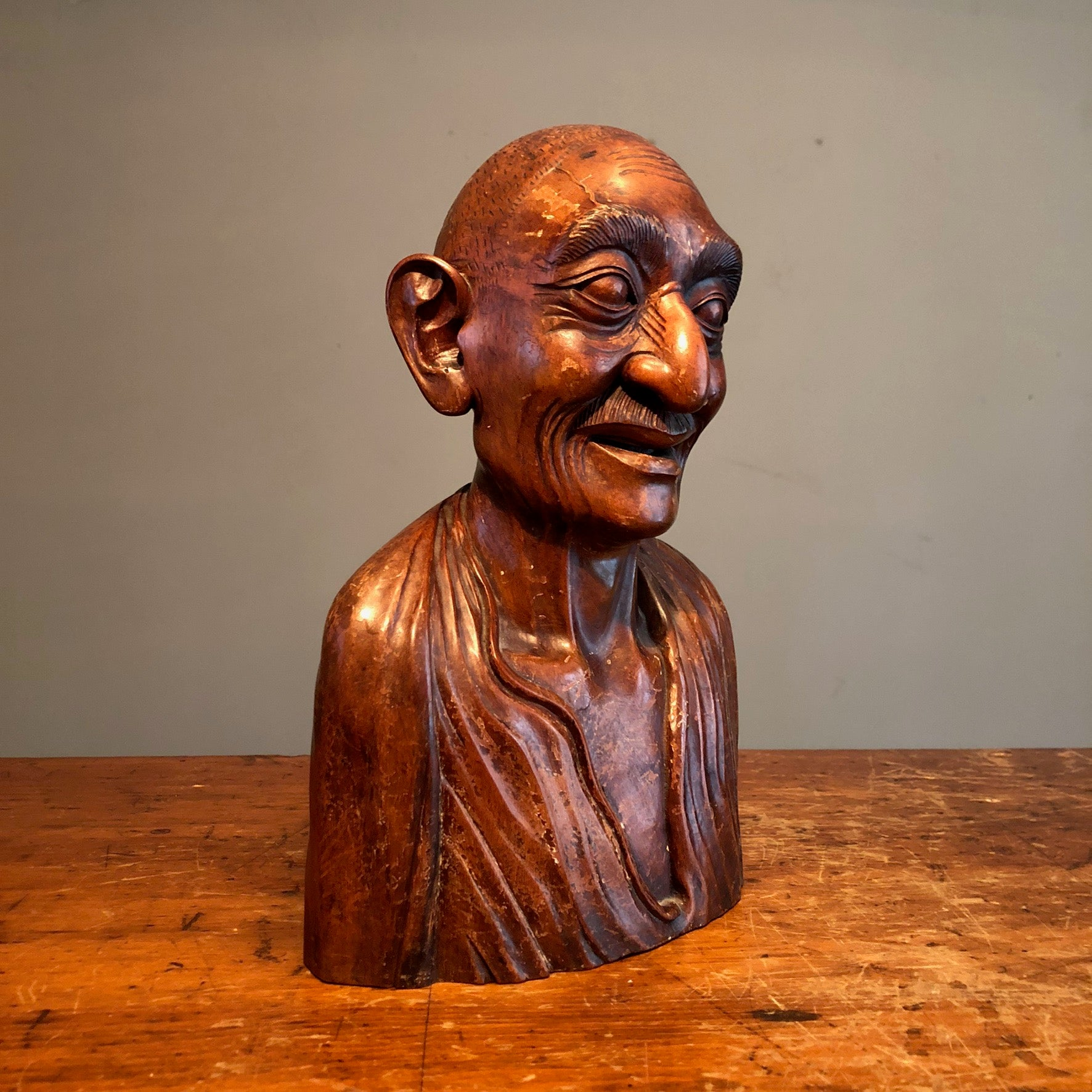 Chinese Wood Bust of Old Man - Turn of the Century - Antique Ornate Sculpture - Rare Asian Carving - Mystery Artist - Creepy