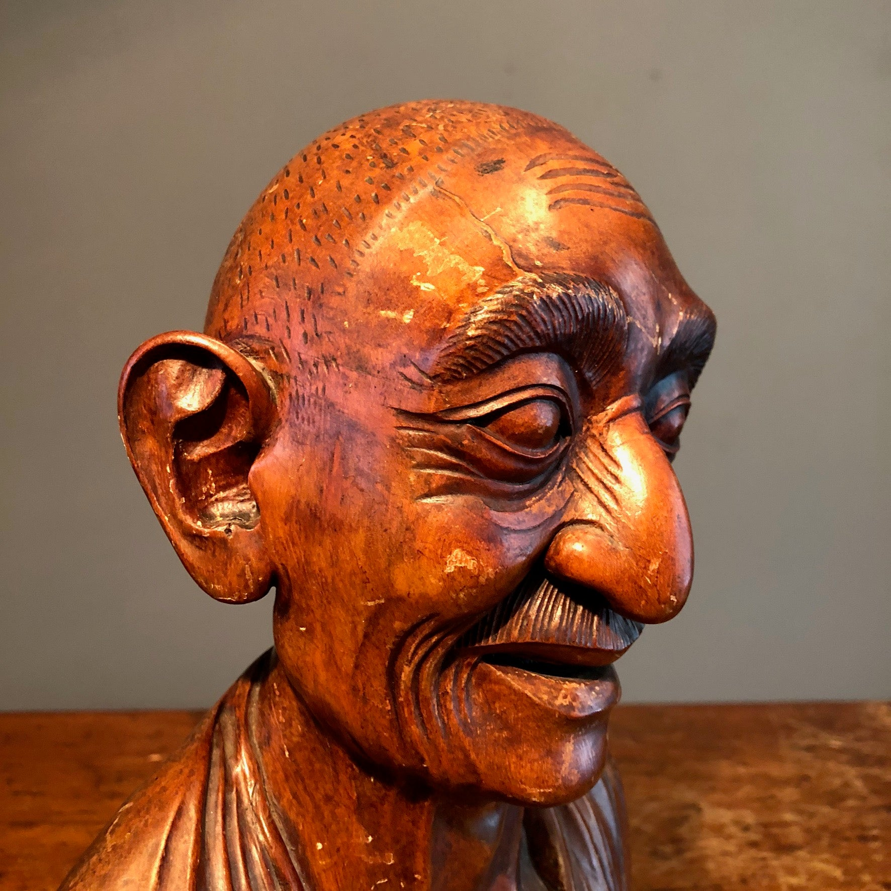 Chinese Wood Bust of Old Man | Turn of the Century
