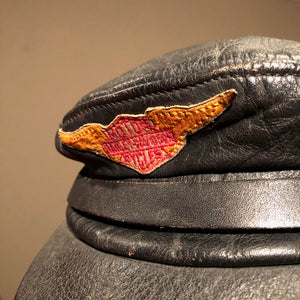 Vintage Harley Davidson Leather Cap | 1960s Large