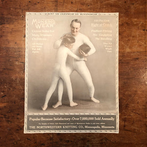 Munsingwear Advertising Sign on Cardboard - 1920s - Rare Football Theme - Unusual Antique Underwear Advert - Collectible