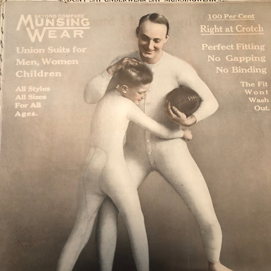 Munsingwear Advertising Sign on Cardboard - 1920s - Rare Football Theme - Unusual Antique Underwear Advert - Pigskin Collectible