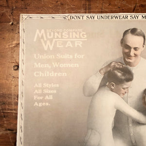 Munsingwear Advertising Sign on Cardboard | 1920s