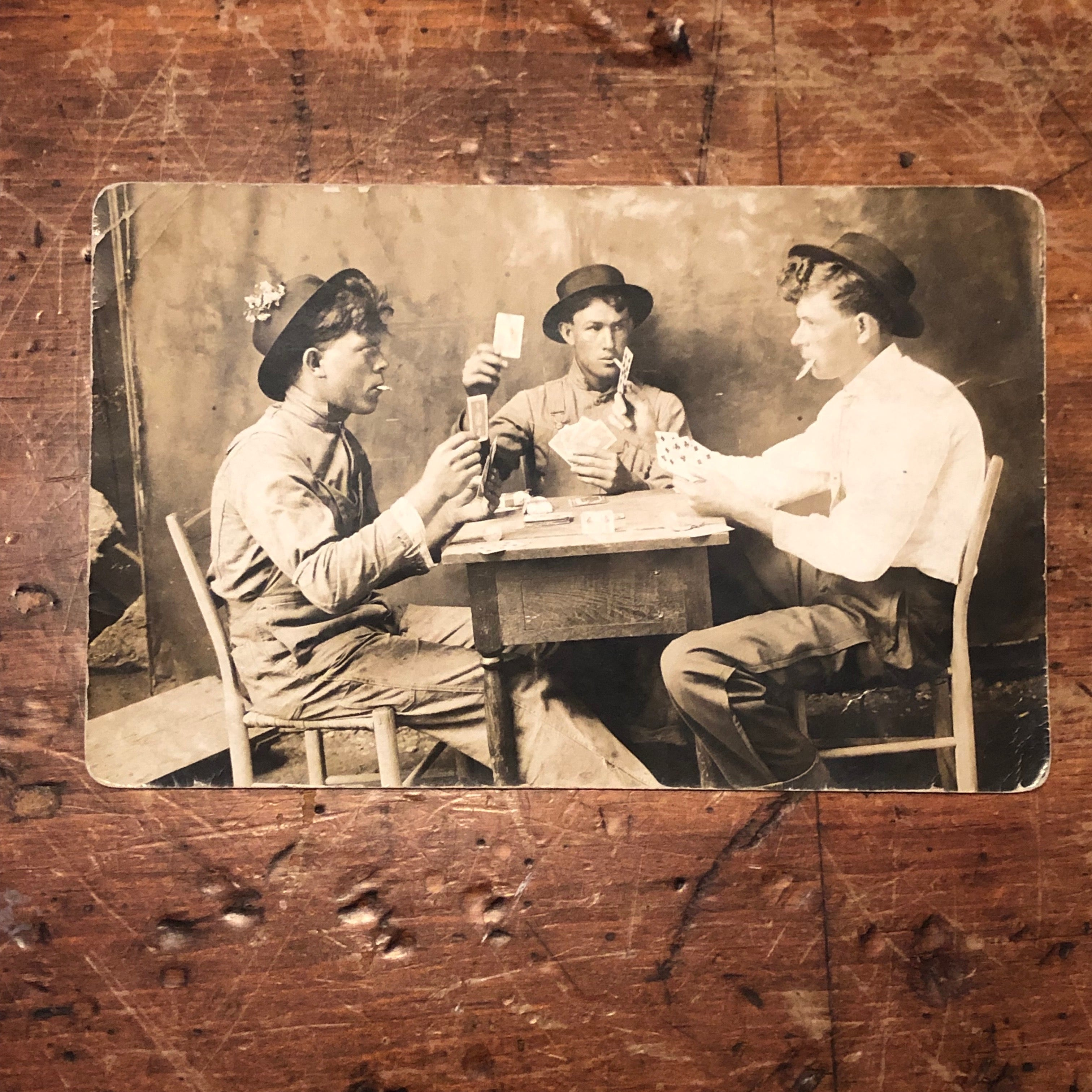 Antique RPPC of Gambling Card Game - Rare Real Photo Postcard from Early 1900s - Unusual Photo of Men's Workwear - Mancave Photography