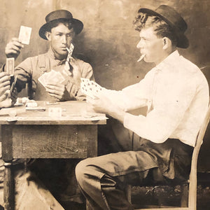 Antique RPPC of Gambling Card Game - Rare Real Photo Postcard from Early 1900s - Unusual Photo of Men's Workwear