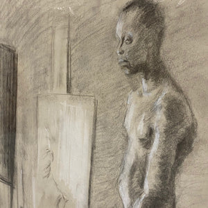 African American Charcoal Drawing from 1970s