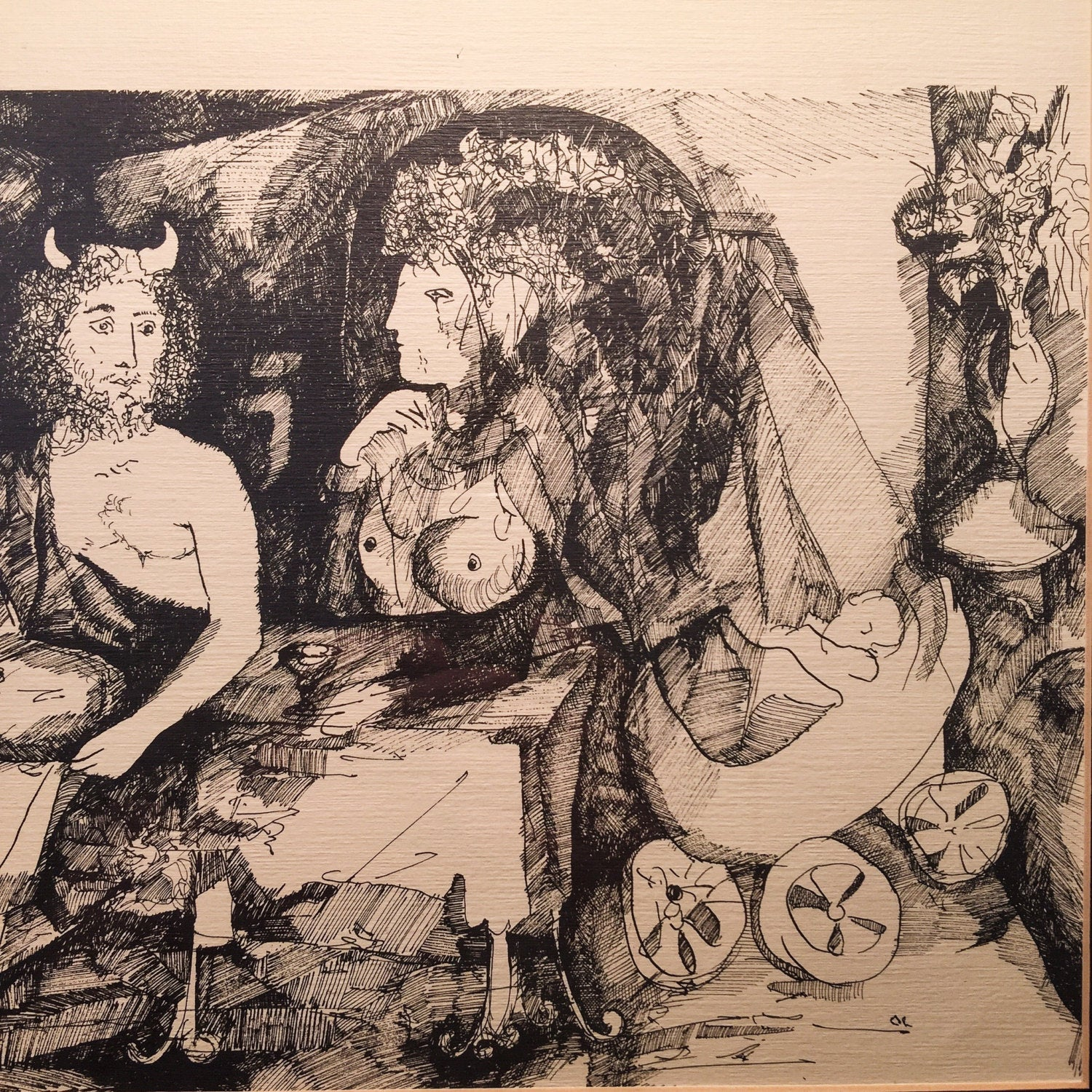 Ink Drawing of Satan, Wife and Baby - Macabre art - Signed - Mystery Artist - Surreal Vintage - Macabre oddity - Morbid Art