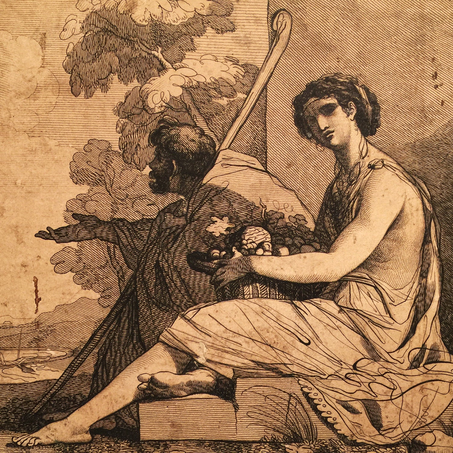 Robert Blythe Engraving after John Mortimer - Blind beggar and woman seated with a basket of fruit - Robert Blythe - 1820 - British Museum