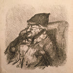 "Early British Etching of Sleeping Man with Glasses - 1800s - Signed in plate ""A.H."" - Mystery Artist"