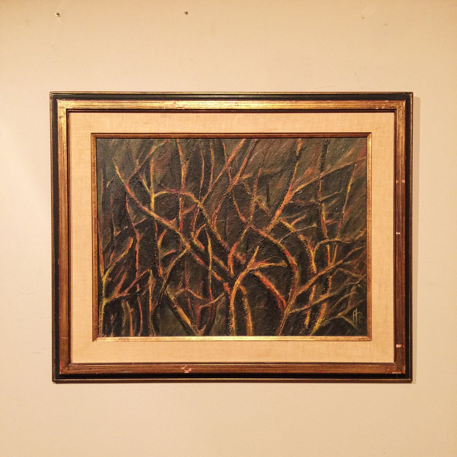 Vintage Abstract Oil Painting - 1962 - Signed Monogram - Mystery Artist - New York - Haunting - Framed