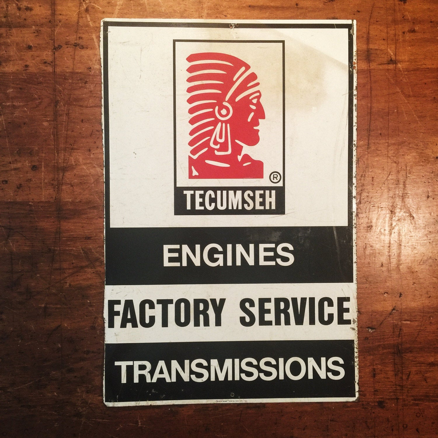Vintage Tecumseh Flange Sign -  Double-Sided - Engines  Factory Service Transmissions - 1970s - Petroliana - 24 x 16