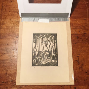 E.M. Washington Woodcut Print - Pandanas Tree - Tropical - Art Scam - Signed and dated 1935