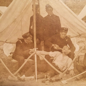 Civil War Photograph For Sale Antique Civil War Pabst Blue Ribbon Photograph - Reenactment - Medical Tent - Sepia - Humor - Drunk - Alcohol - Unusual - Rare - Early 1900s